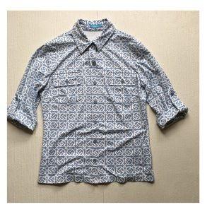 J. McLaughlin 3/4 Sleeve Button Down Shirt-Size XS